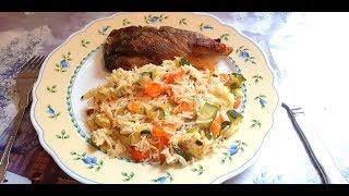Вкусный рис с овощами и рыбой