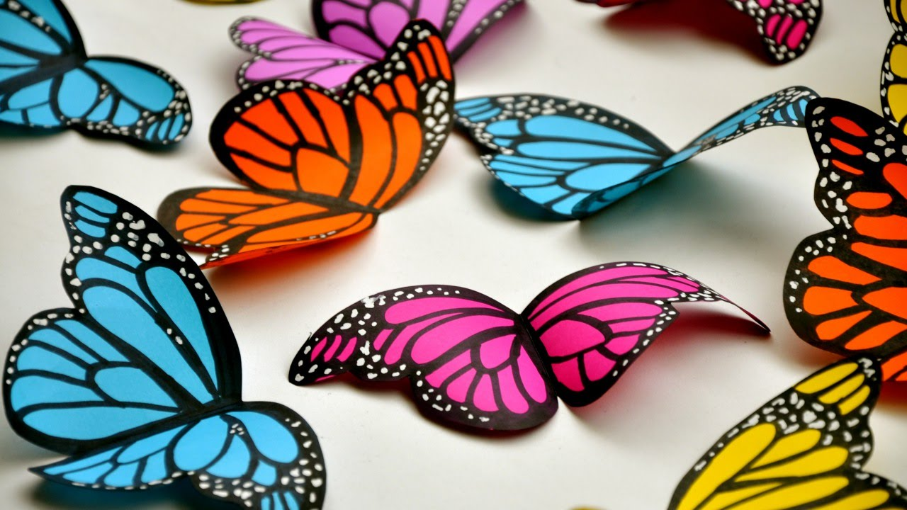Create simple and beautiful paper butterflies diy crafts for How to make a paper design