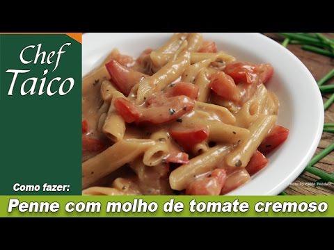Penne com molho de tomate cremoso - Chef Taico