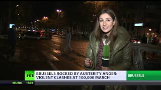Brussels Brawl: Violent clashes as 100k+ protest austerity in EU capital