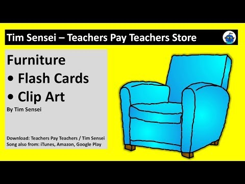 English Furniture Flash Cards, Clip Art and Song for Teachers