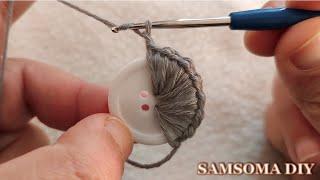 شاهدوا ماذا صنعت باستخدام الازرار مع فن الكروشيه / Crochet With Buttons / Recycled Button Craft Idea