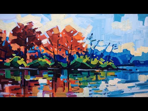 Acrylic landscape painting, Autumn painting with lake, Acrylic painting technique, Plein air