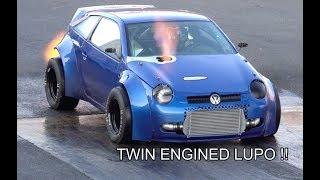 1800bhp TWIN ENGINED VW LUPO 1/4 MIle At Santa Pod Raceway