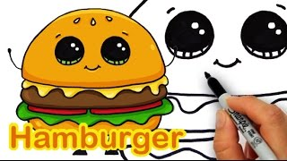 How to Draw a Cartoon Hamburger Cheeseburger Cute and Easy