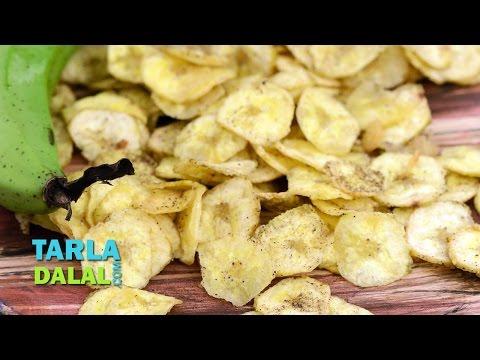 Banana Pepper Wafers, Deep fried snack from raw bananas by Tarla Dalal