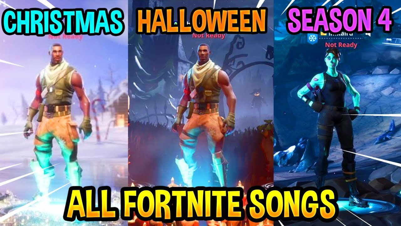 ALL FORTNITE THEME SONGS! *EMOTIONAL ????* (Season 1, Halloween, Christmas, Season 4)
