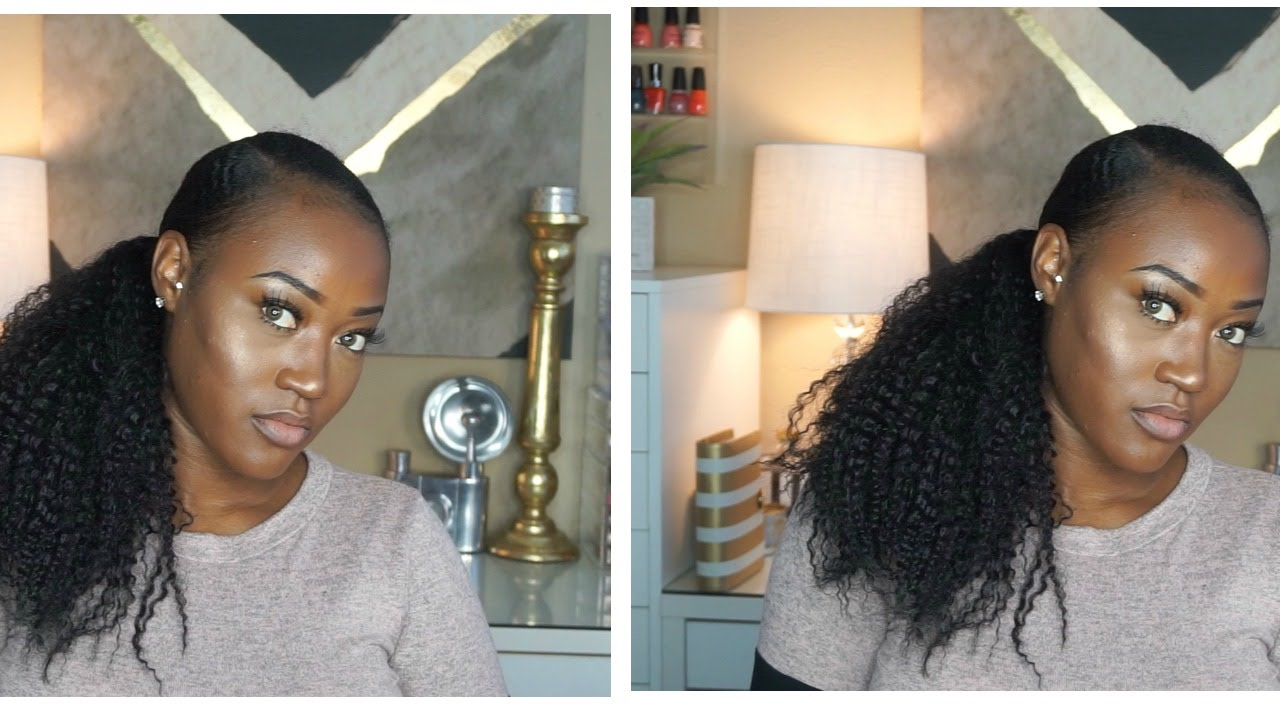Sleek Natural Hair Ponytail Using A 7 Drawstring Youtube