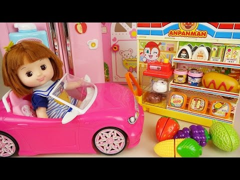 Thumbnail: Baby doll pink car, mart and refrigerator toys with fruits and Surprise eggs