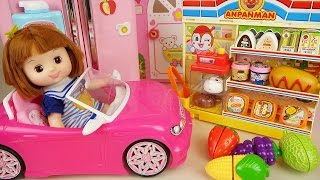Baby doll pink car, mart and refrigerator toys with fruits and Surprise eggs