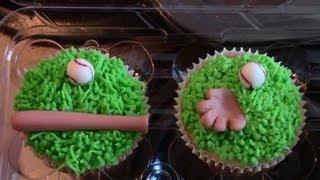 Fathers Day Baseball Theme Cupcakes, Fondant Baseball Decorations