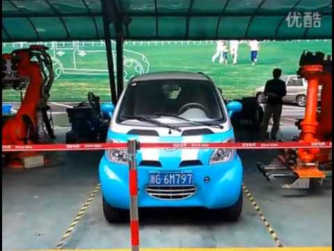 Kandi Electric Car In Hangzhou China Using State Grid Quick Battery Exchange Robotics