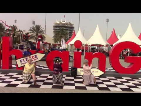 The Dancing Grannies get low outside the Bahrain Grand Prix!