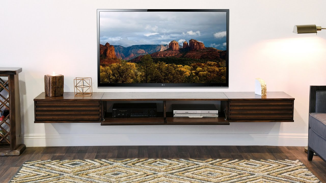 woodwaves wall mount entertainment center floating tv stand lotus russet brown 3 piece youtube. Black Bedroom Furniture Sets. Home Design Ideas