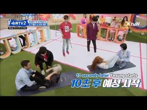 Super Junior Yesung VS AOA Hyejeong sit-ups contest