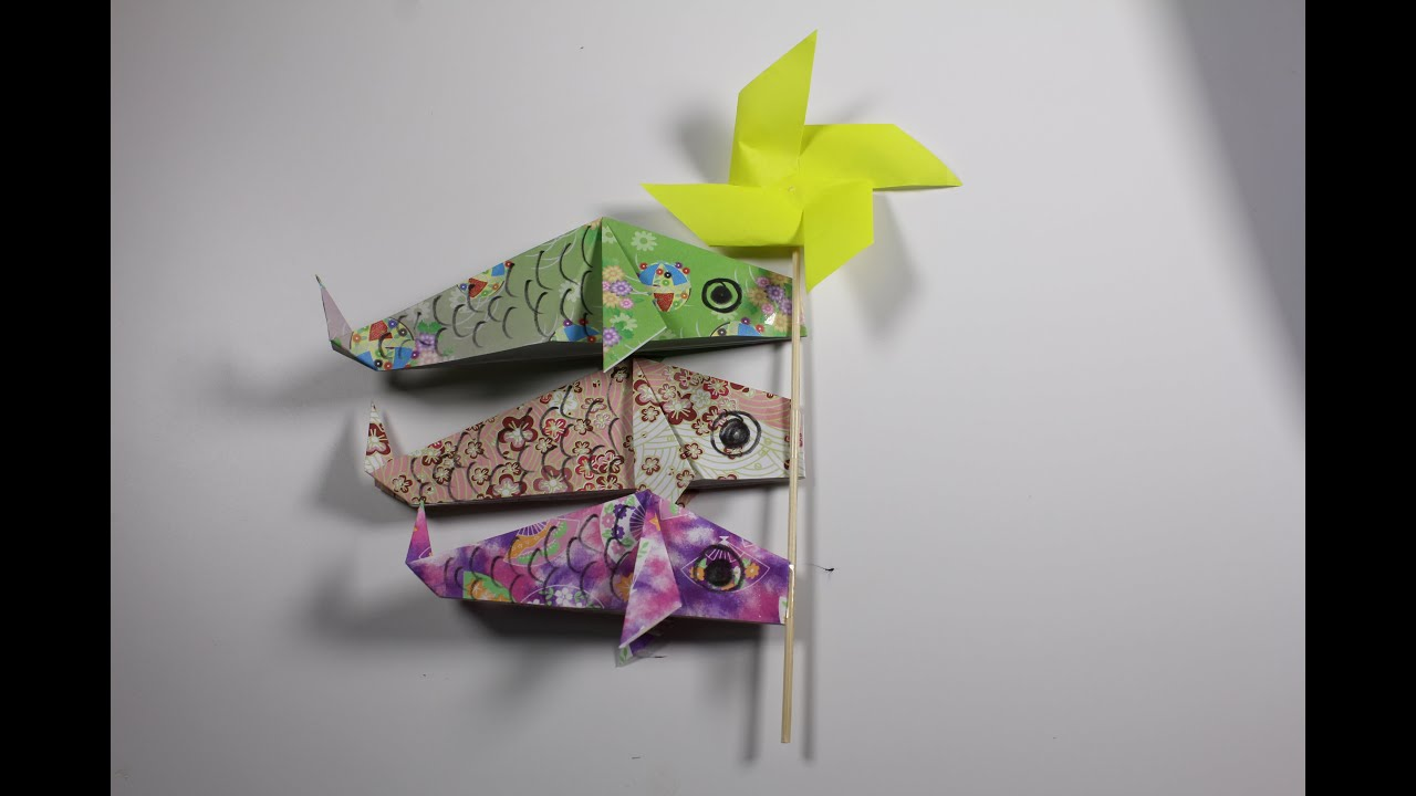 Origami carp streamer koinobori youtube for Origami koi fish easy