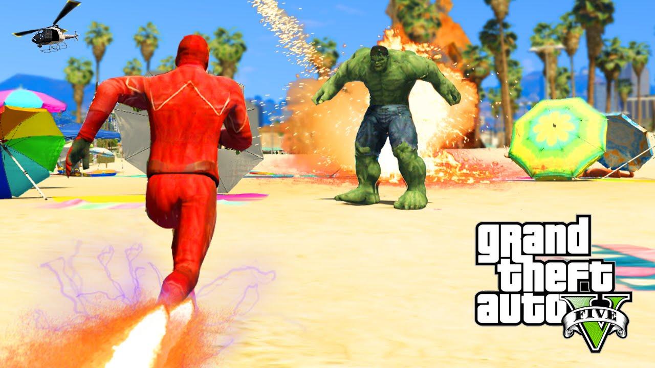 GTA 5 PC Mods – THE FLASH VS  THE INCREDIBLE HULK! GTA 5