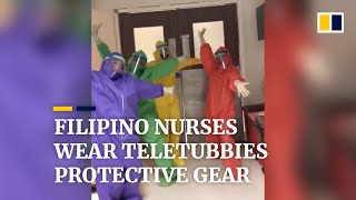 Covid-19 frontliners wear Teletubbies protective gear in Philippines