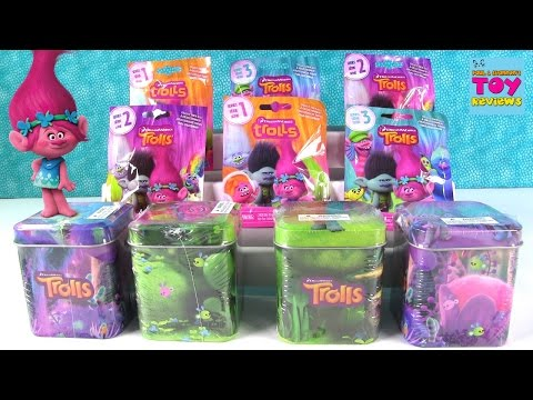 Trolls Surprise Tins Stickers Magnets Blind Bags Series 1 2 3 Toy Review | PSToyReviews