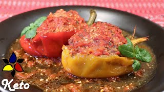 Stuffed Bell Peppers in Spicy Tomato Sauce – keto, grain free, gluten free | Keto Comfort Food