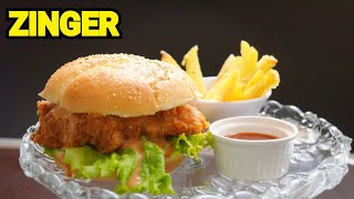 The Most Amazing Crispy ZINGER BURGER by (YES I CAN COOK) how to make zinger burger #ZingerBurger