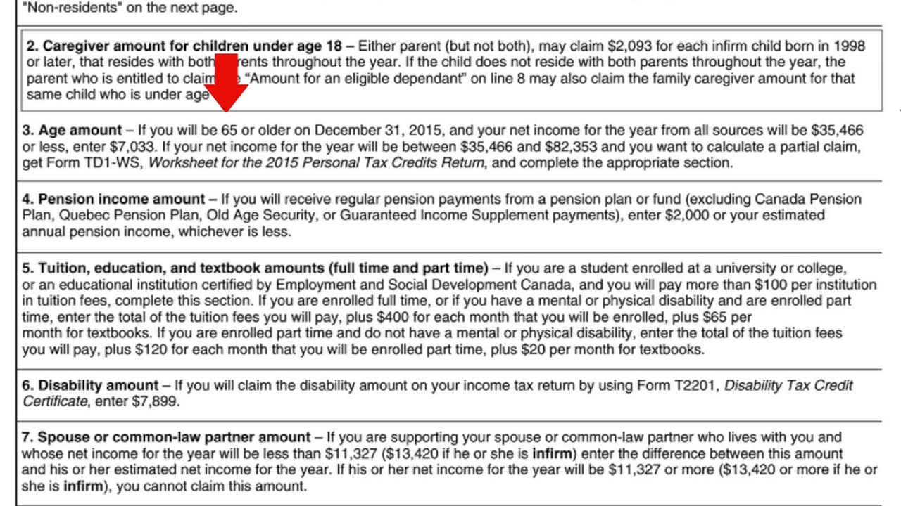 TD1 federal tax form - YouTube