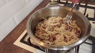 Способ приготовления гречки с мясом в сотейнике от фирмы Цептер.