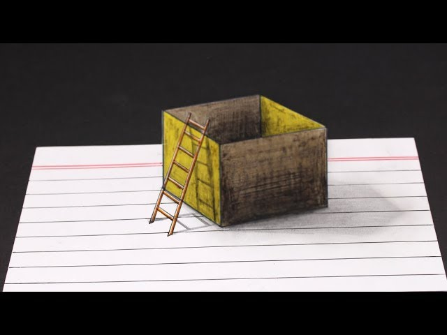 3D box and ladder!! How to Draw a amazing realistic Ladder and box at home for kids