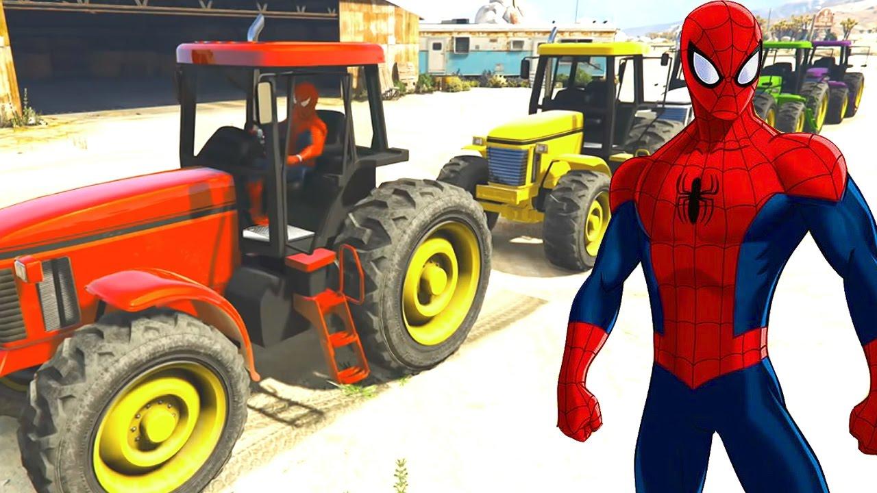 синий трактор и человек паук