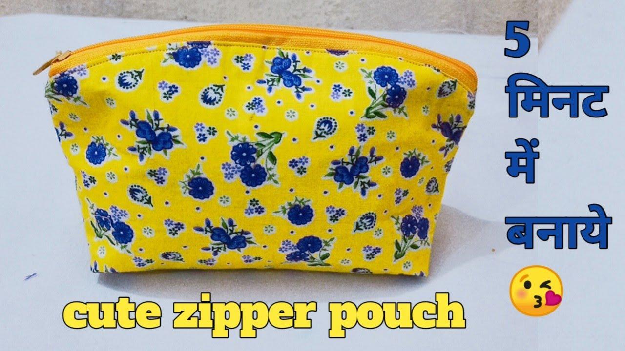 5 मिनट में बनाये सुंदर Zipper pouch/Zipper handbag/ladies purse/mobile phone ka purse