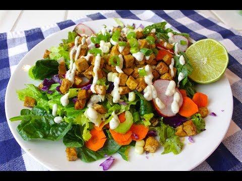 Crispy Tofu Salad and Vegan Ranch Dressing