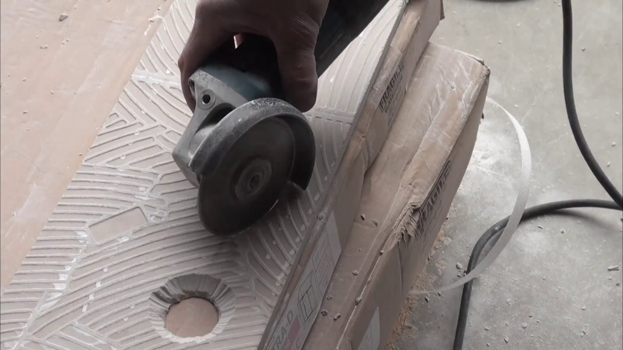 How To Cut A Hole In Tile With An Angle Grinder Youtube