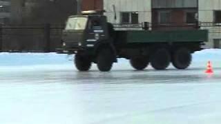 Обучение вождению грузового транспорта по льду