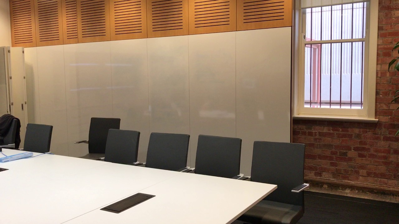 Magnetic Laminated Whiteboard Panels On Moving Operable Wall YouTube - Whiteboard conference table