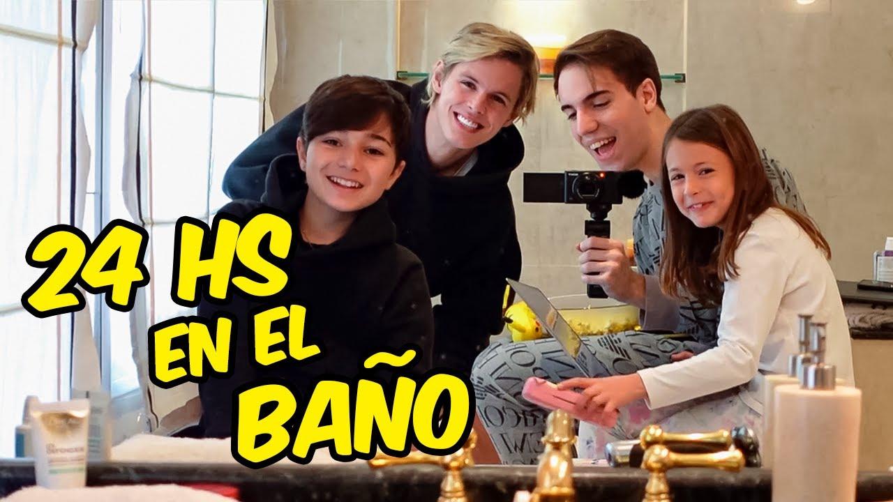 24 HORAS EN EL BAÑO con NUESTROS HERMANITOS!! 😱 *se enojan*
