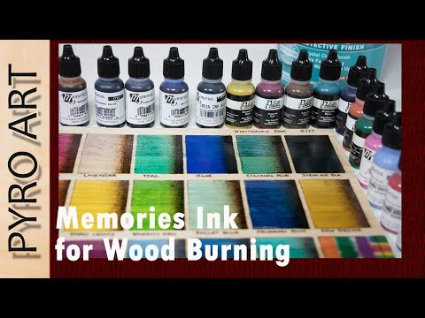 Pyrography: Memories Ink used for adding color to Wood Burnings! See how the inks swatch on wood