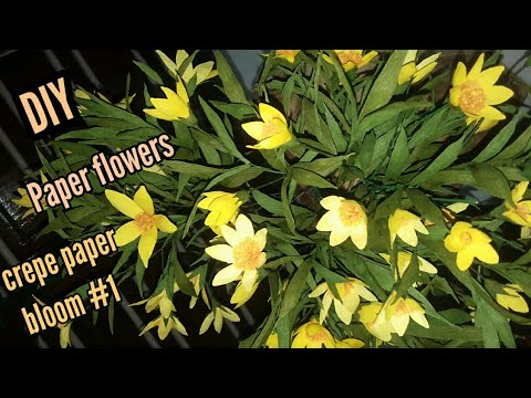 How to make beautiful Yellow bloom flowers with paper DIY #1