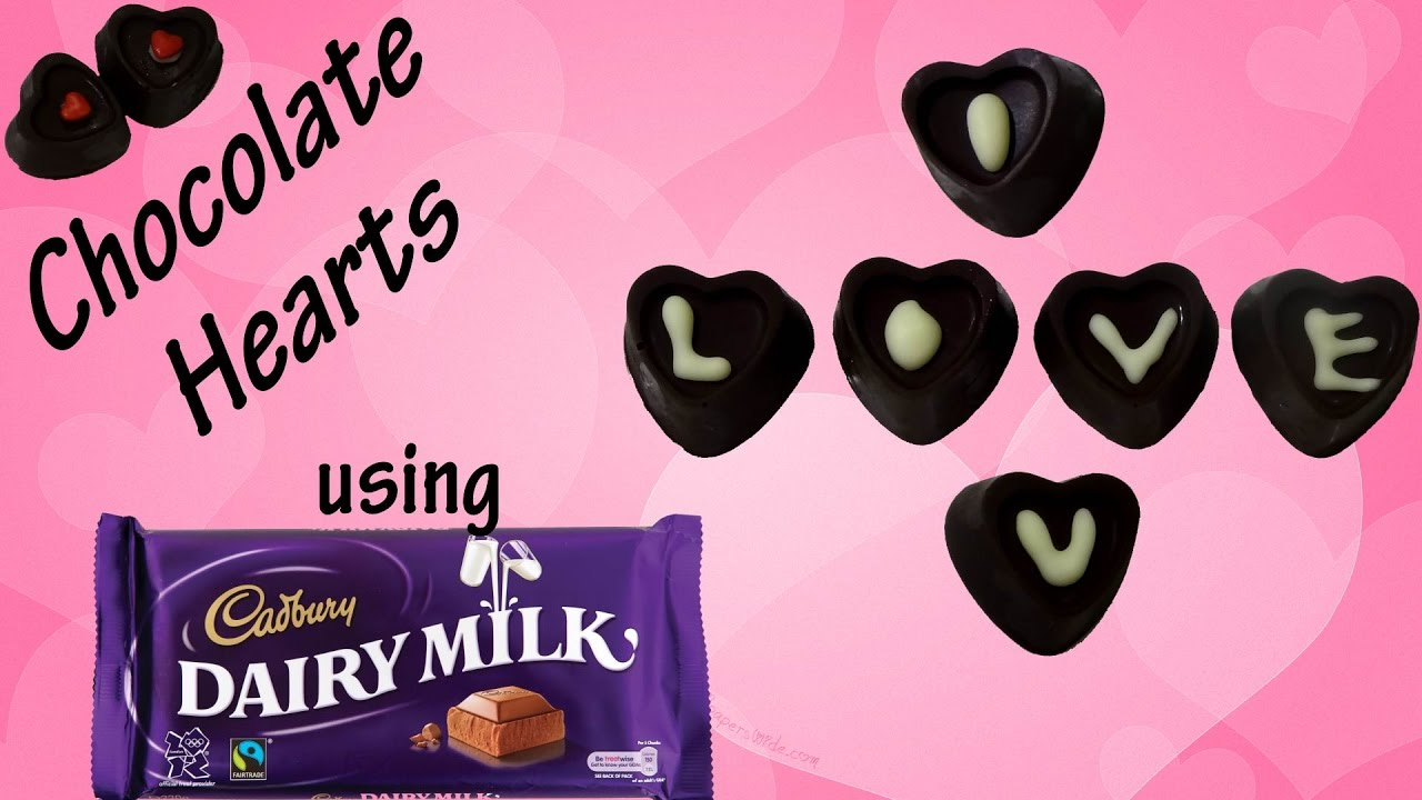 Chocolate Hearts With Coffee Coconut Almond Using Dairy Milk