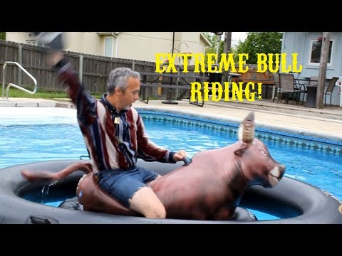 Pool Cowboy Intex InflataBull 8 Second Ride - Inflatable Bull Challenge