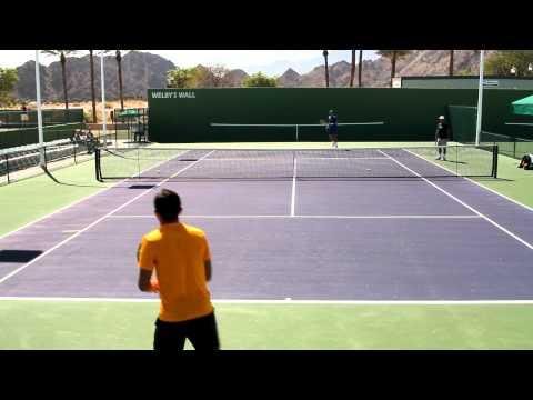 Nicolas Almagro Practicing Groundstrokes 2012 BNP Paribas Open Indian Wells