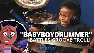 "5 Year Old Drum Prodigy Battles ""The Groove Troll"" (Drumeo Kids)"