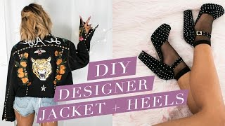 DIY Designer Gucci Patch Jacket & Studded Saint Lauren Heels | Nava Rose