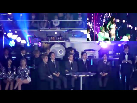 EXO, BTS, AND AOA REACTING TO HYUNA HOW'S THIS AT SAF GAYO DAEJUN 2016 [FANCAM]