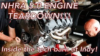 Inside Look! NHRA Indy Teardown - 5.0 Coyote Engine Disassembly At Track, '67 Firebird, 427 Ford