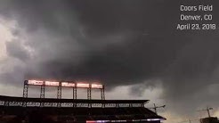 Lightning threatens Colorado Rockies game in Denver, CO; April 23, 2018!