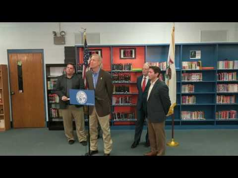 Gov. Bruce Rauner Discusses Illinois education funding at Mt Zion High School