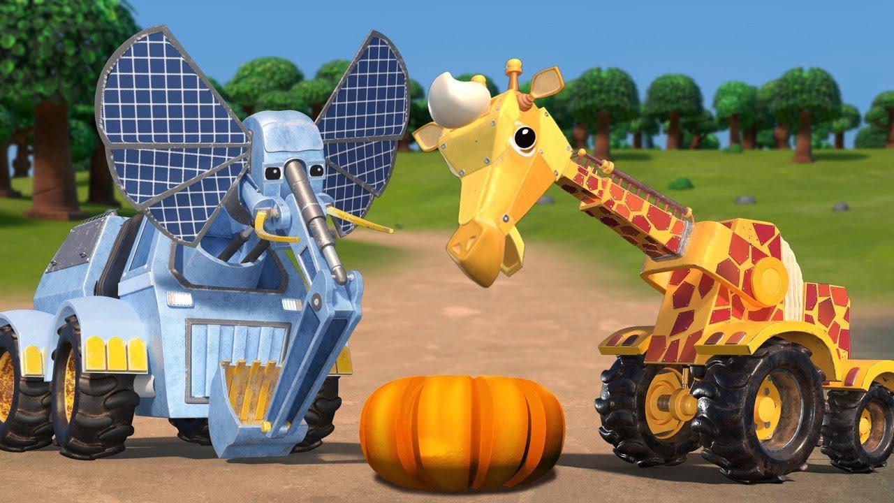 АнимаКары - День Благодарения: ЖИРАФ КРАН и ТЫКВА - мультфильмы для детей с машинами и животными