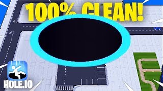 CLEARING OUT 100% OF THE MAP! // Hole.io