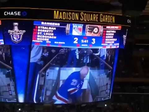 Dancing Larry, Game 2, Rangers Flyers, 4/20/14, MSG
