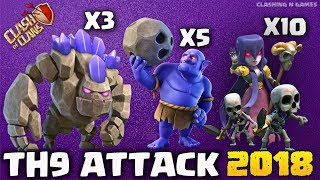 3 GOLEM + 10 WITCH: WITCH BOOM NEW TH9 STRONG WAR ATTACK STRATEGY 2018 | Clash of Clans